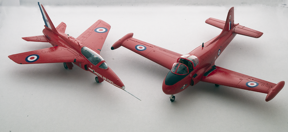 Photo of the 1/72 Airfix Gnat and Jet Provost.