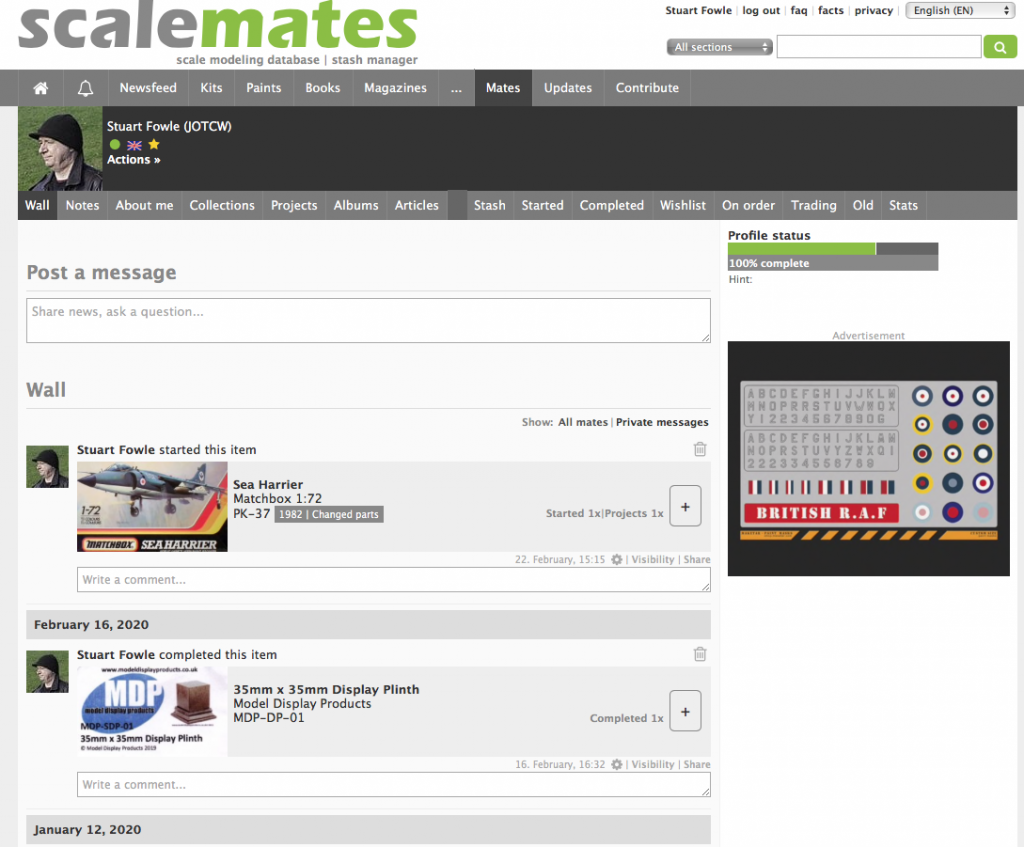 Screen shot of my ScaleMates page.