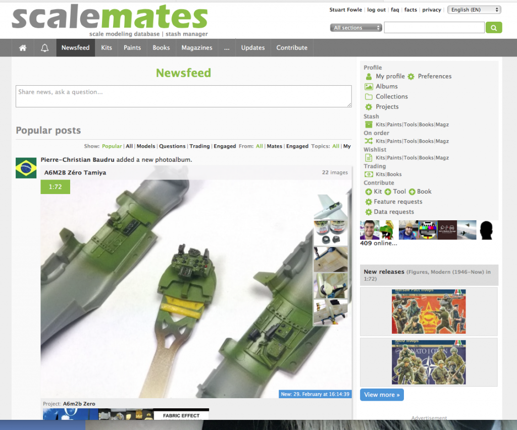 Screenshot showing my newsfeed on Scalemates.