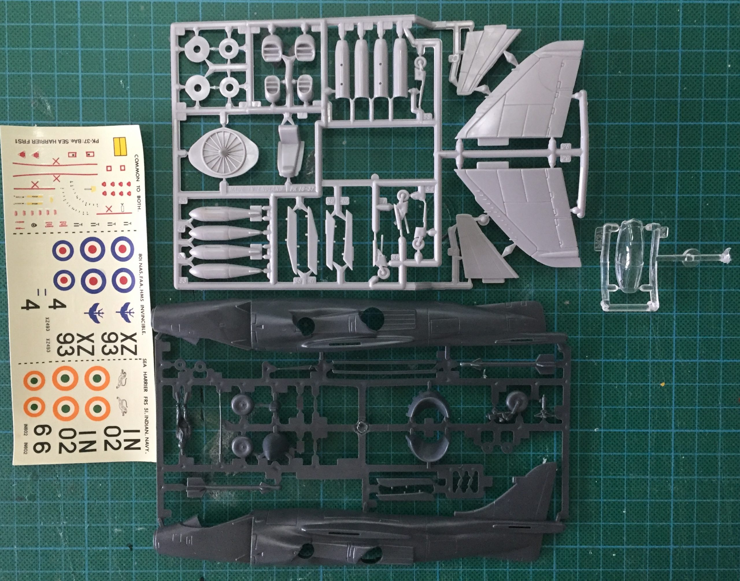 Contents of the Matchbox 1/72 Sea Harrier.