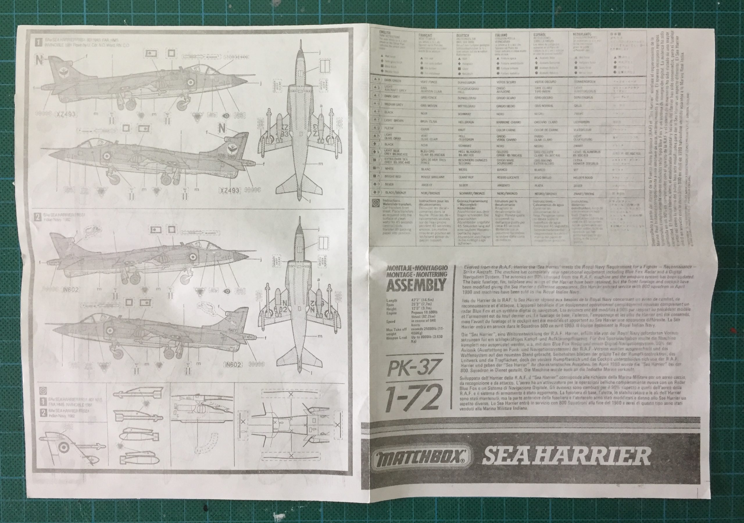 Matchbox 1/72 Sea Harrier instruction sheet, front.