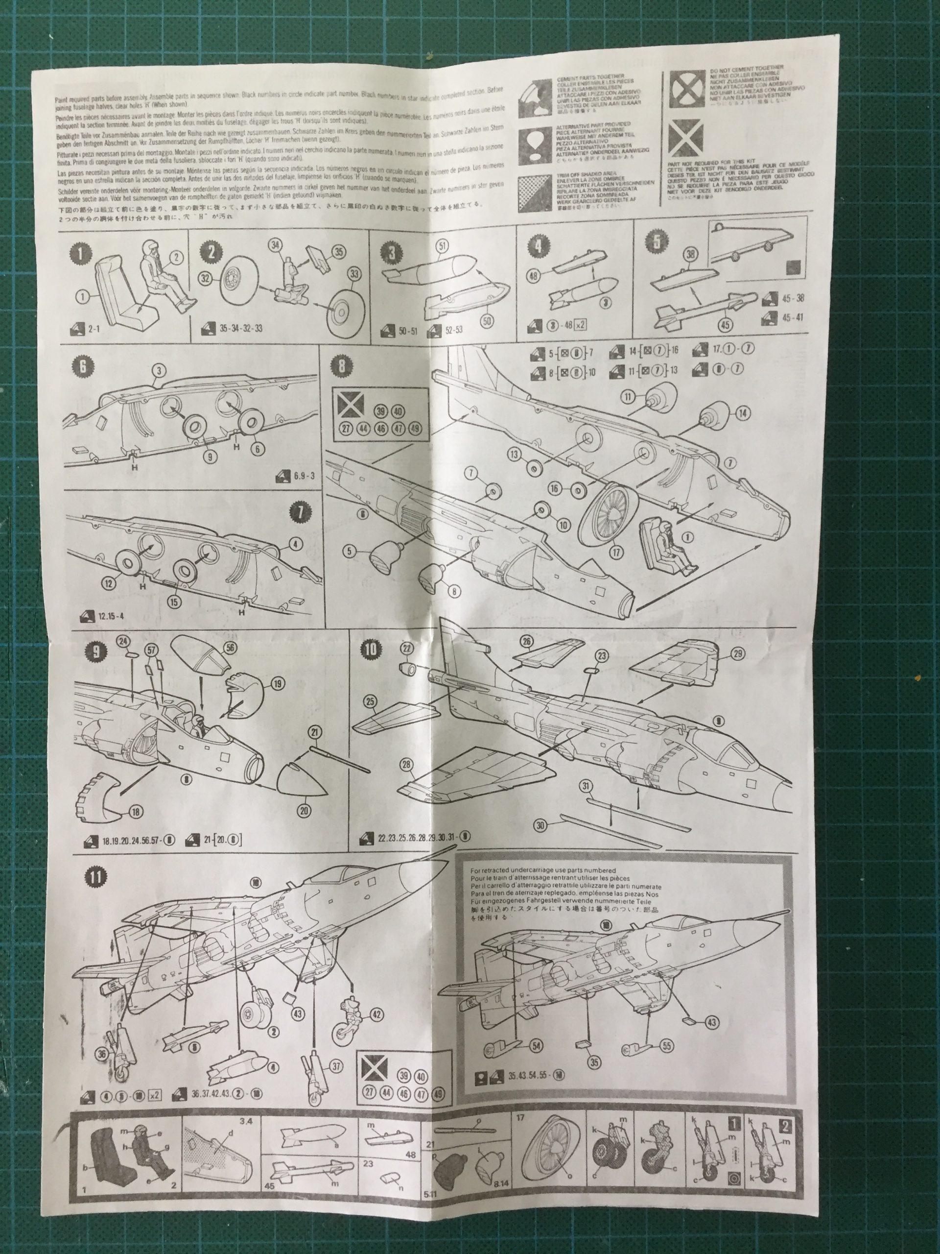Matchbox 1/72 Sea Harrier instruction sheet, back.