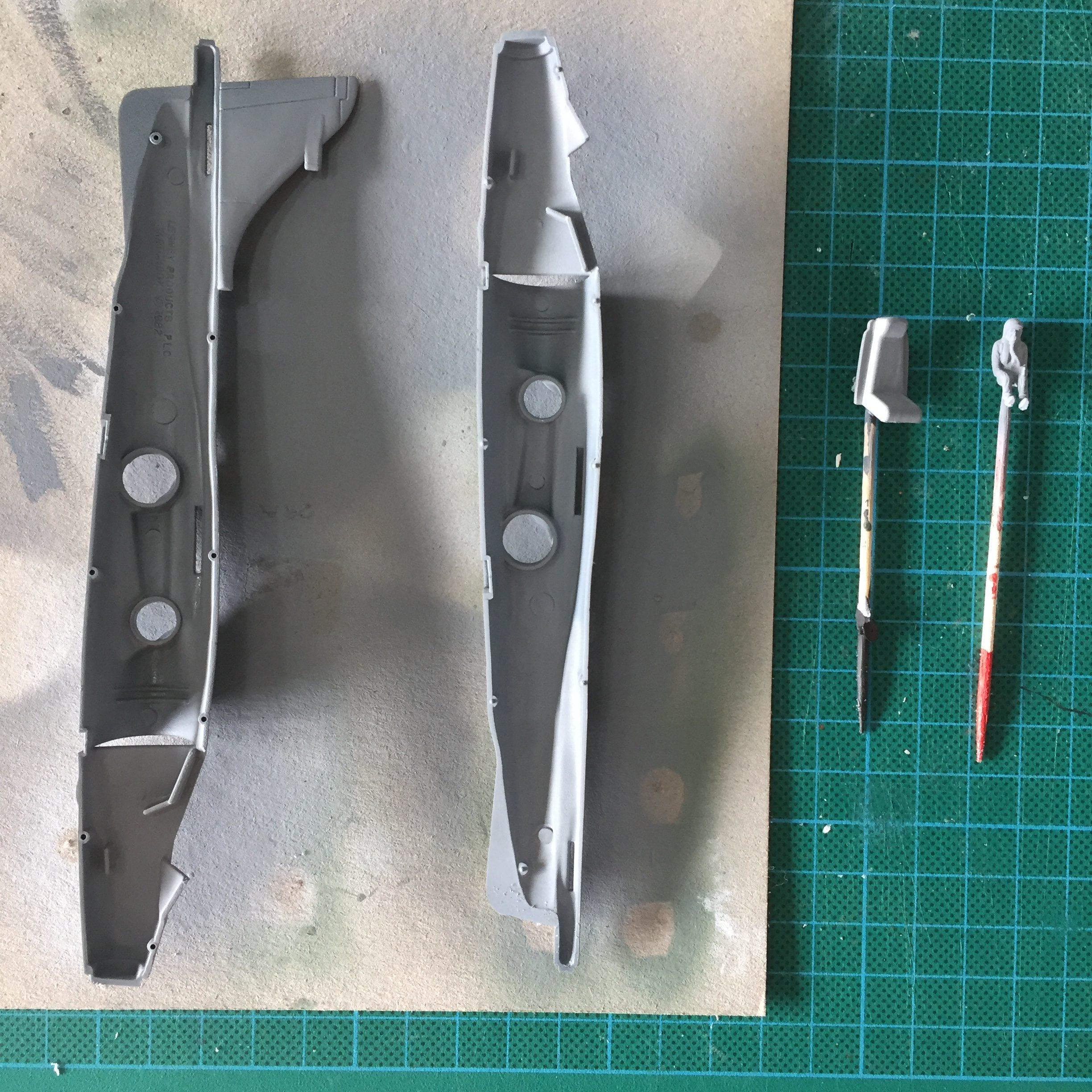 Work in progress on the Matchbox 1/72 Sea Harrier. Cockpit and engine plate.