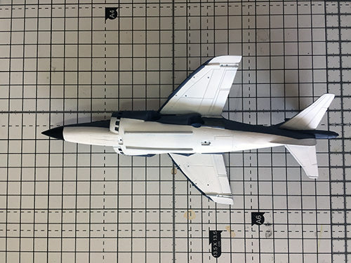 Work in progress on the Matchbox 1/72 Sea Harrier. White added.