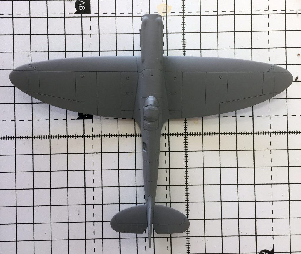 Work in progress on the Airfix 1/72 Spitfire PR.XIX . Model primed and ready for top coats.