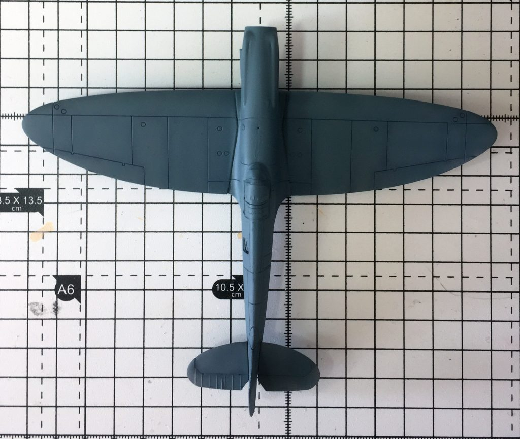 Work in progress on the Airfix 1/72 Spitfire PR.XIX , PRU Blue added to top half.
