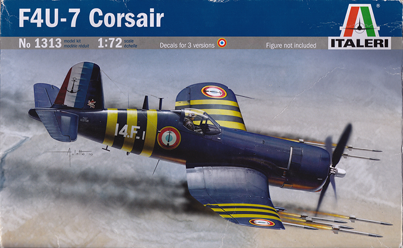 Box art for the Italeri 1/72 F4U-7 Corsair.