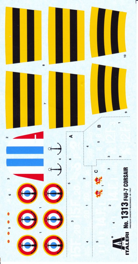 Decal options for the Italeri 1/72 F4U-7 Corsair.
