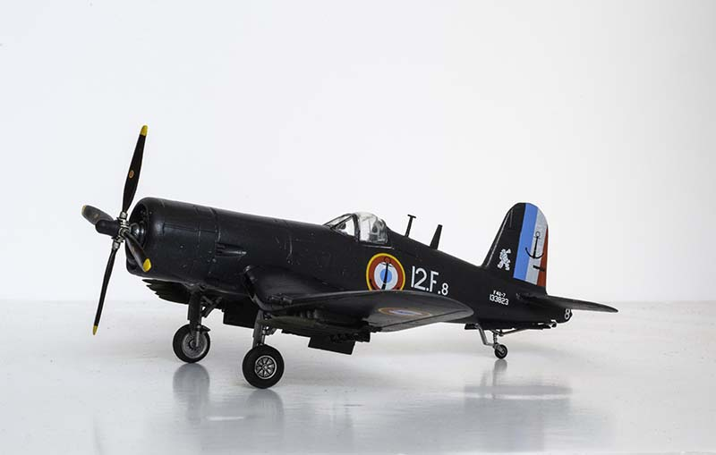 The completed Italeri 1/72 F4U-7 Corsair model.