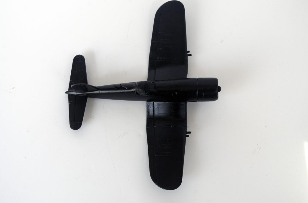 Italeri 1/72 F4U-7 Corsair painted and ready for decals.