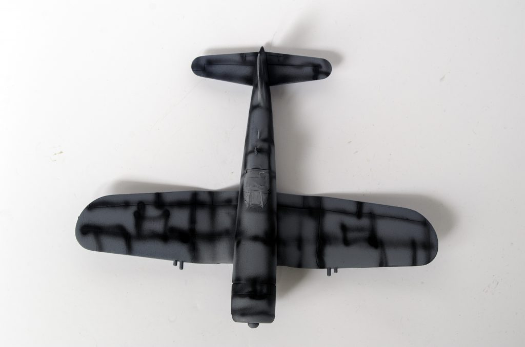Pre-shading on the Italeri 1/72 F4U-7 Corsair,