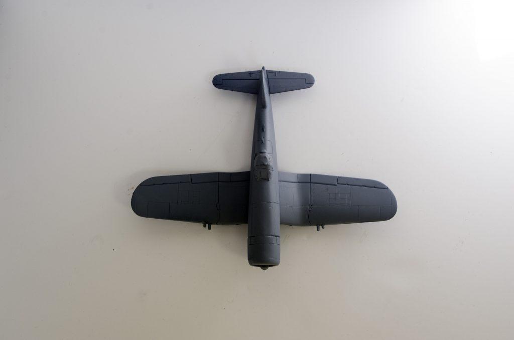 Italeri 1/72 F4U-7 Corsair primed, top half.