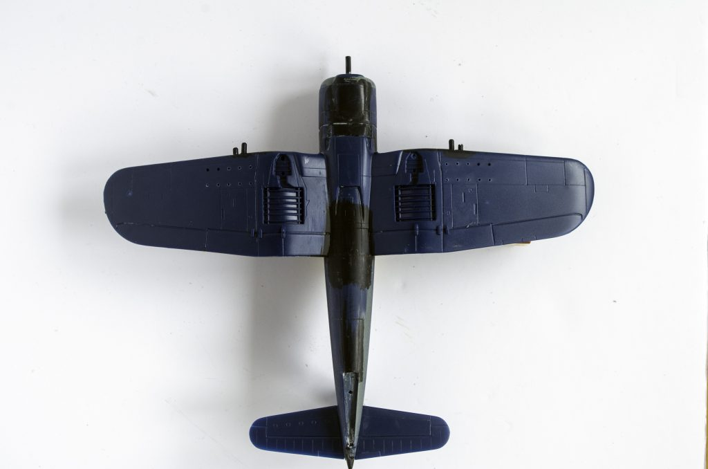Getting ready to prime the Italeri 1/72 F4U-7 Corsair, bottom side.