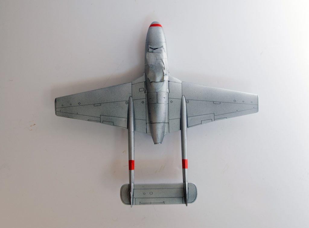 Work in progress on the Airfix 1/72 de Havilland Vampire T11