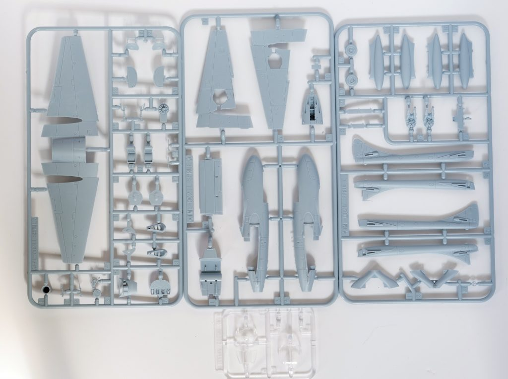 Kit parts of the Airfix 1/72 de Havilland Vampire T11