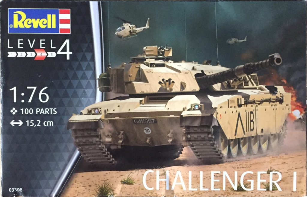 Revell 1:76 Challenger 1 box art - Cold War armour in miniature.