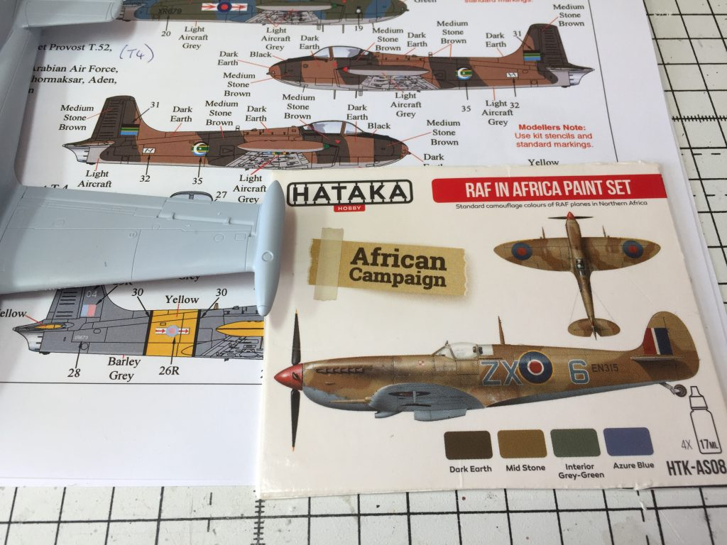 Image showing the Xtradecal sheet X72291 and the Hataka Paint Set RAF in Africa.