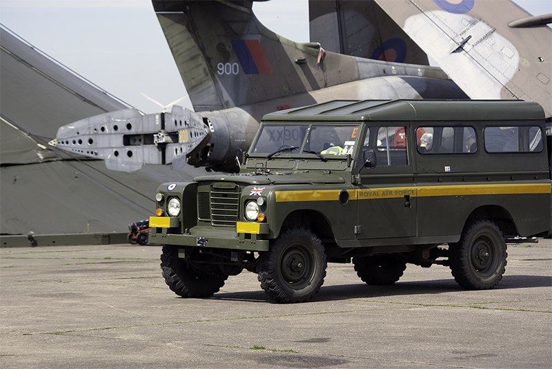 RAF LWB Land Rover and HS Buccaneer SB.2. (Bruntingthorpe open day). A good example of RAF yellow stripes and lettering.