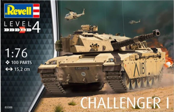 Box art of the Revell 1:76 Challenger 1 model kit.
