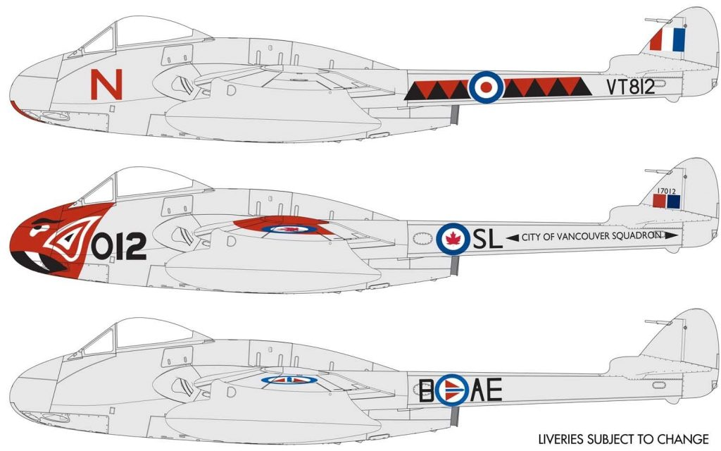 New from Airfix 2021, possible colour schemes for the new Airfix 1/48 Vampire F.3