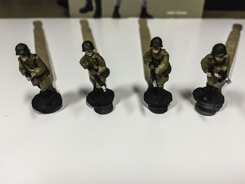 Elhiem 1:72 Soviet Motor Rifle Infantry, base colours being added.