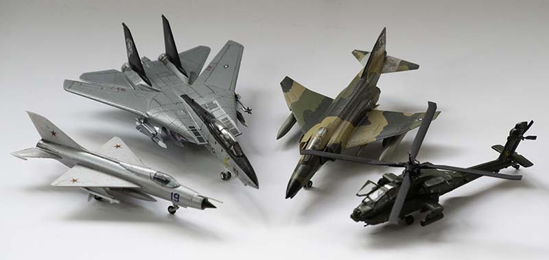 A selection of 1:144 scale model aircraft.