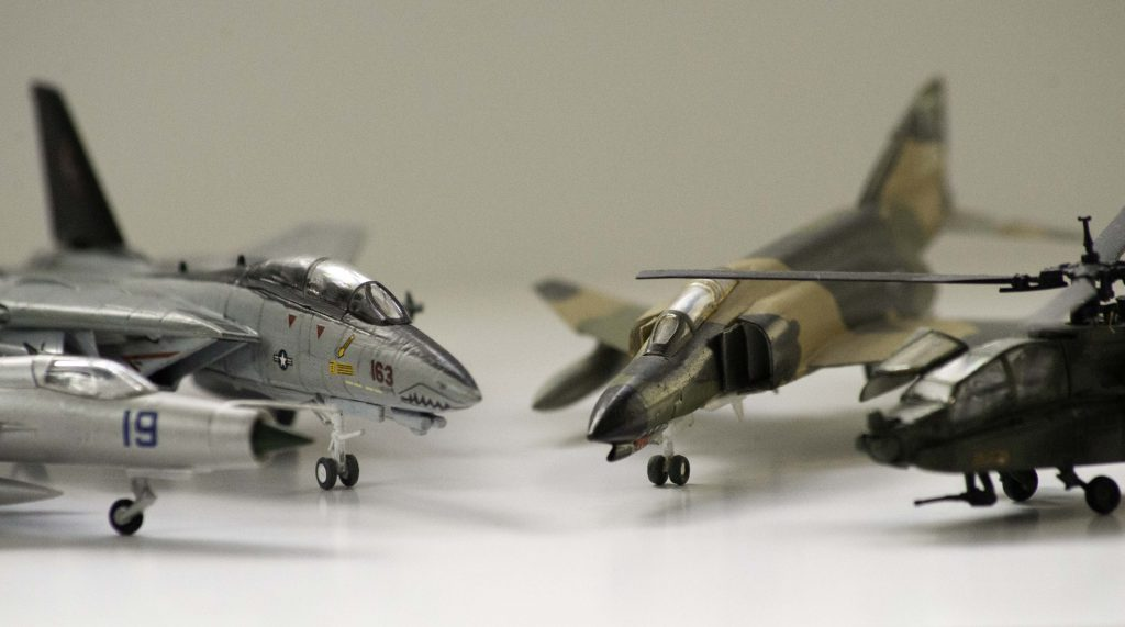 Photo of some 1:144 model aircraft from Revell and Minicraft.