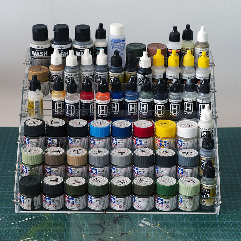 Paint storage rack - front view.