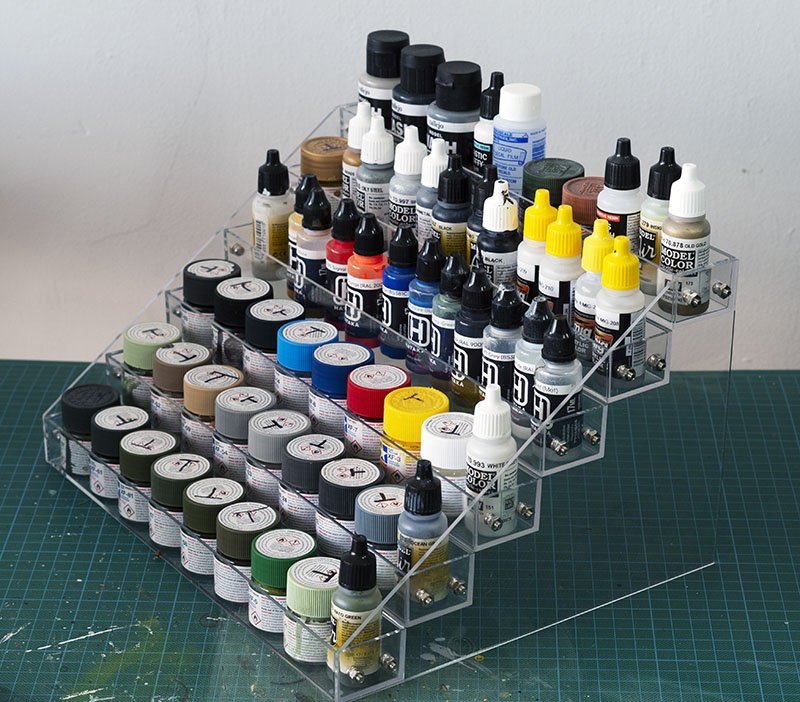Paint storage rack - right side view.