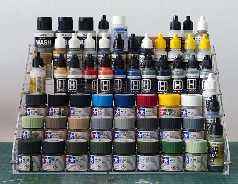 Paint storage rack - front eye level view.